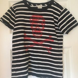 Crewcuts skull & crossbones striped t shirt